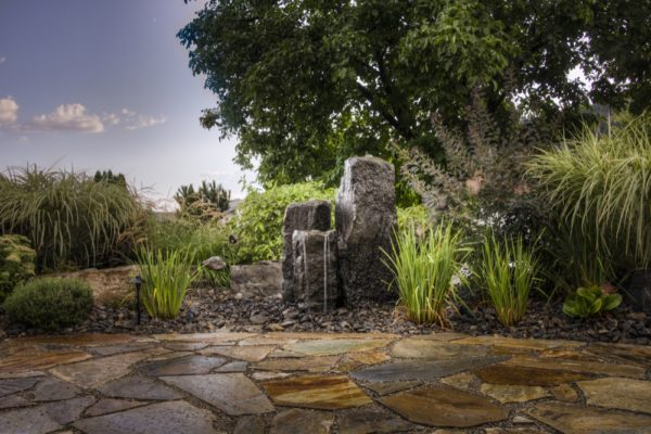 Stone Walkway and Water Feature